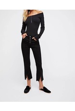 Free People Free People Black Cropped Button Jeans