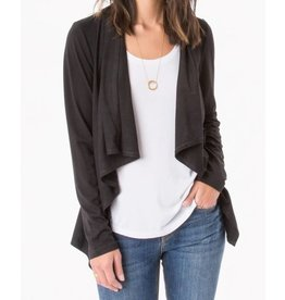 Z Supply Zsupply Suede Waterfall Cardigan Black