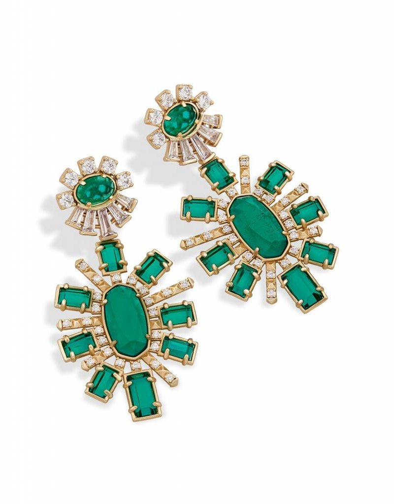 Kendra Scott Kendra Scott Glenda Earrings in Clear Emerald