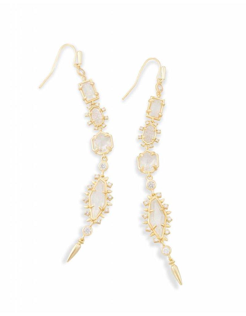 Kendra Scott Kendra Scott Gold Leandra Earrings in Rock Crystal Mix