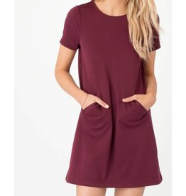Z Supply Chloe Ponte Dress in Dark Wine