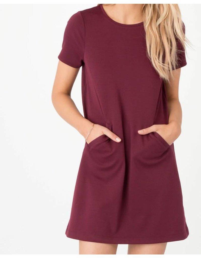 Z Supply Chloe Ponte Dress in Dark Wine