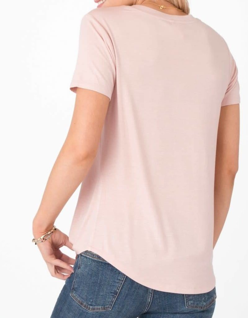 Z Supply Shimmer Pocket Tee - Silver Pink