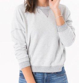 Z Supply Z Supply Reverse Fleece Crop Pullover Heather Grey