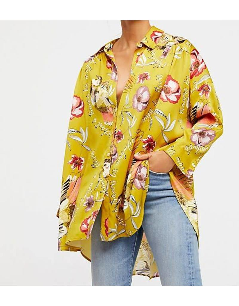 Free People Silky Nights Button Down Top