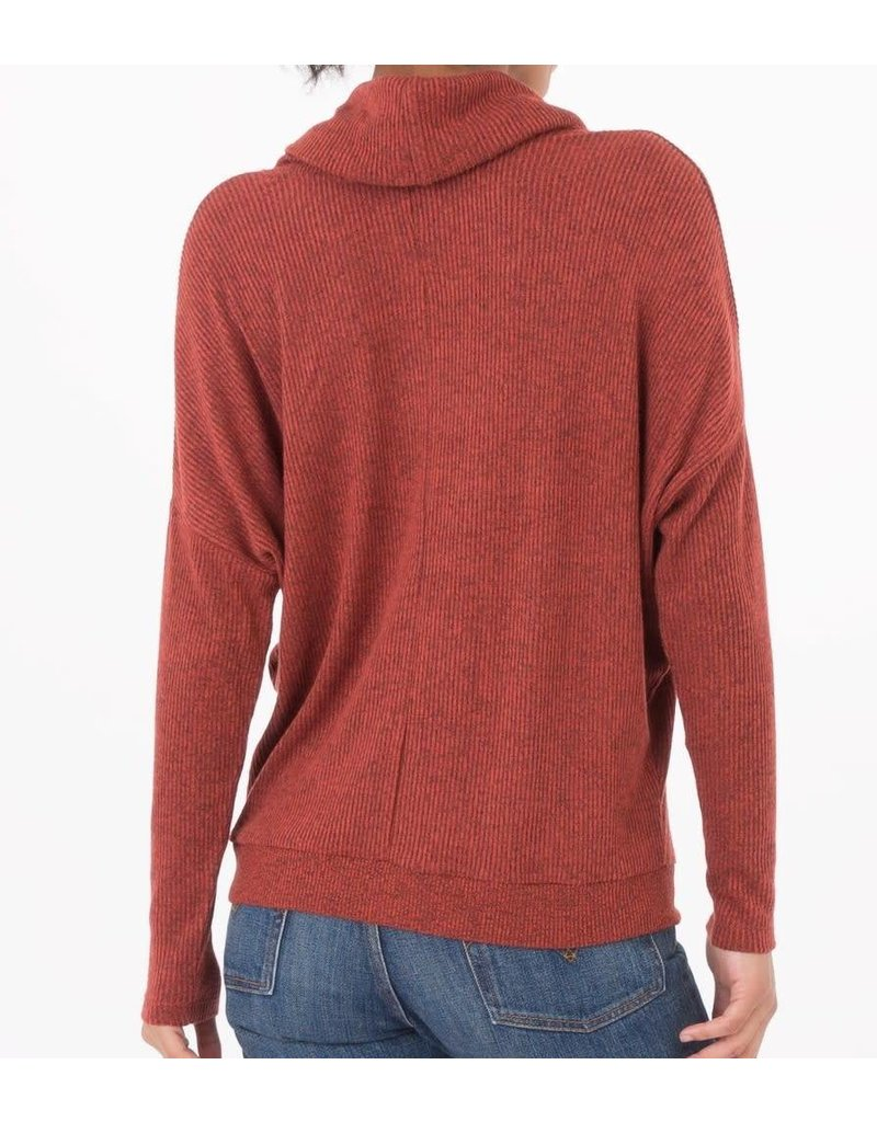 Z Supply Brushed Rib Cowl Neck Sweater in Rust