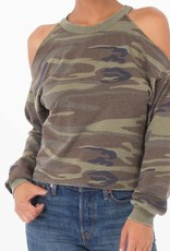 Z Supply Cropped Cold Shoulder in Camo Green