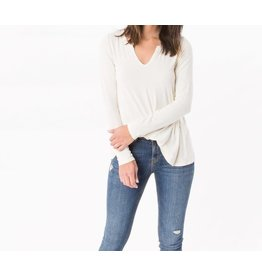 Z Supply Sleek Jersey Split Neck L/S in Ivory