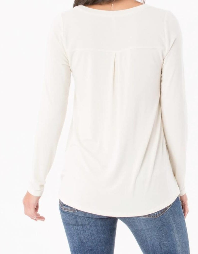 Z Supply Sleek Jersey Split Neck L/S in Ivory