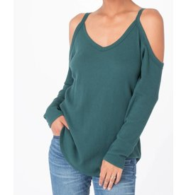 Z Supply Z Supply L/S  Cold Shoulder Thermal Tee Deep Jungle