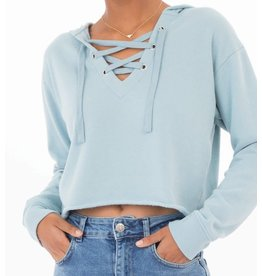 Z Supply Cropped Lace Up Hoodie in Blue Smoke