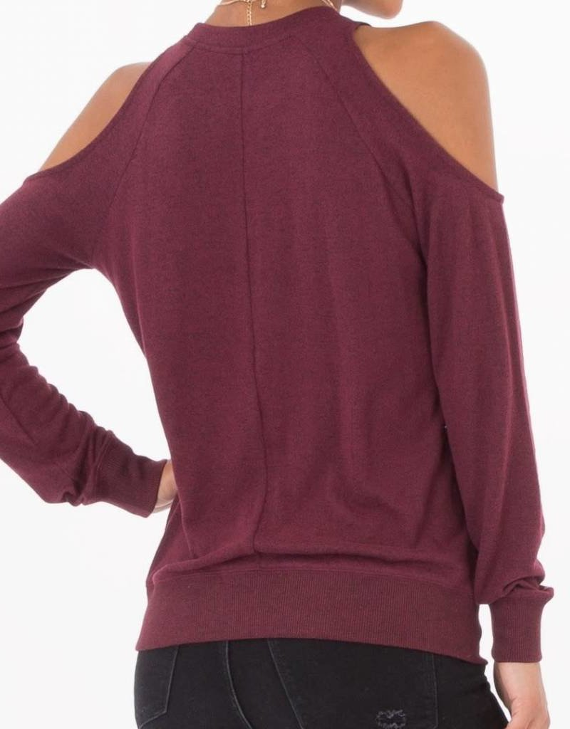 Z Supply Marled Cold Shoulder in Dark Wine