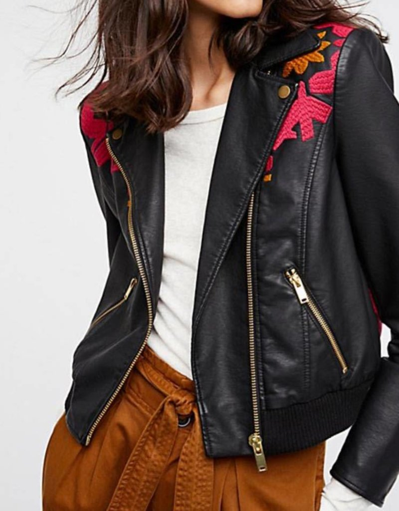 Free People Free People Embroidered Bomber in Black