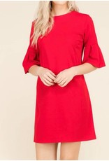 Dress w/Sleeve Detail in Red