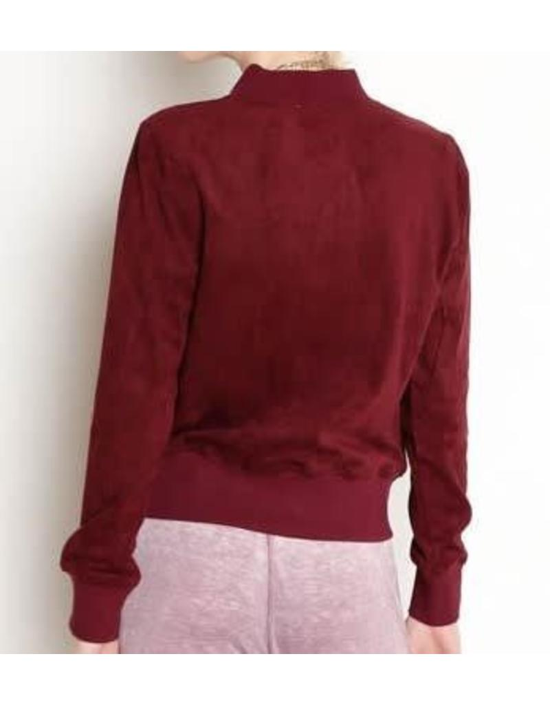 Another Love Anderson Suede Jacket in Burgundy