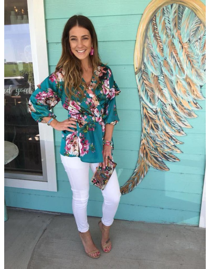 Jade/Floral Satin Wrap Shirt