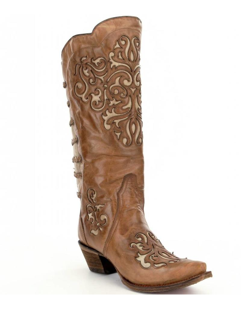 Corral Corral Brown Bone Inlay Boots- A3043
