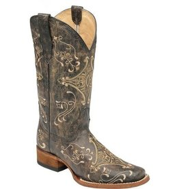 Circle G Circle G Brown Crackle/ Bone Embroidered Boots-L5078
