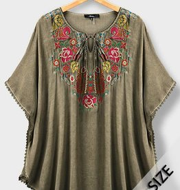 Olive Embroidered Poncho Tunic Top