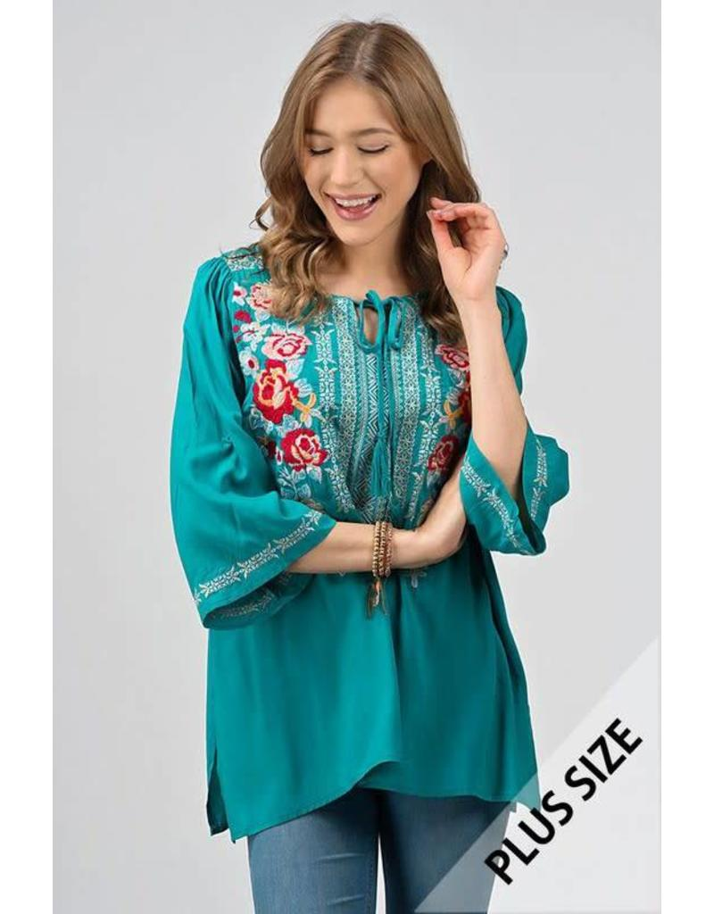 Jade Embroidered Plus Top - 150