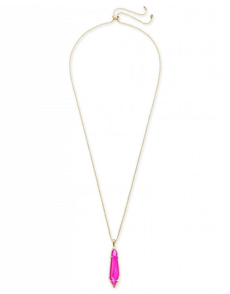 Kendra Scott Kendra Scott Cassidy Necklace in Gold Pink Unbanded Agate