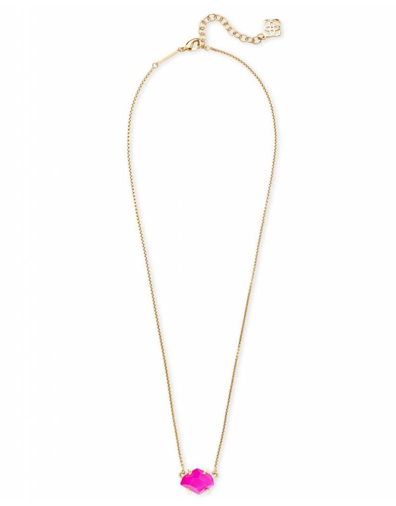 Kendra Scott Kendra Scott Ethan Necklace in Gold Pink Unbanded Agate