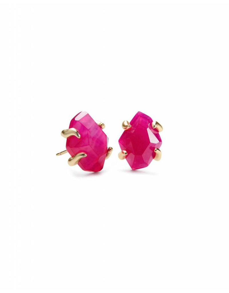 Kendra Scott Kendra Scott Inaiyah Studs in Gold Pink Unbanded Agate