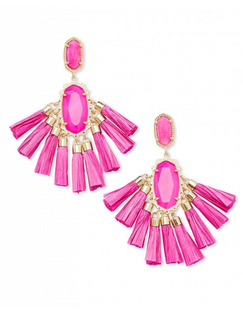 Kendra Scott Kendra Scott Kristen Earrings in Gold Pink Unbanded Agate