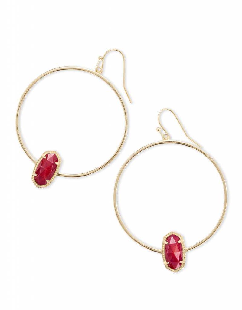Kendra Scott Kendra Scott Elora Hoop Earrings in Gold Red MOP