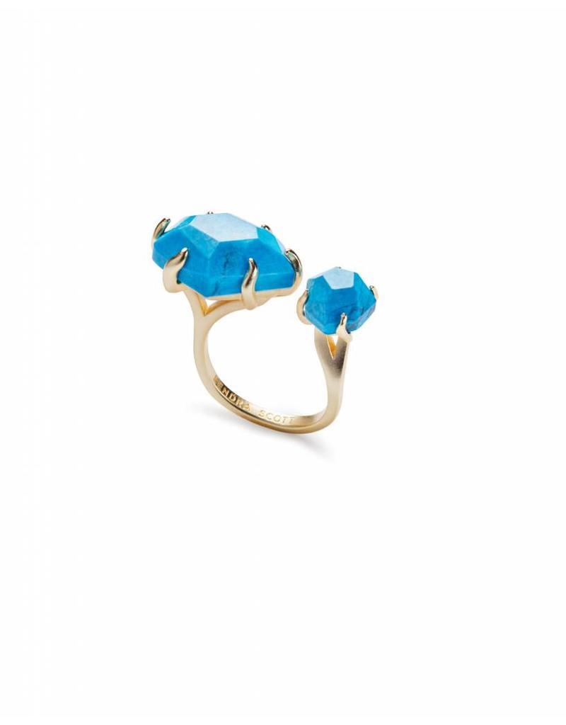 Kendra Scott Kendra Scott Kayla Ring in Gold Aqua Howlite -M/L