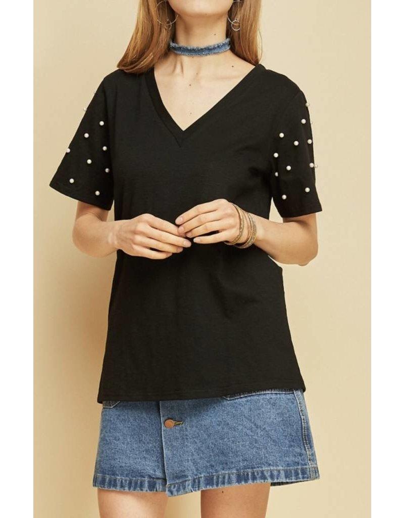 Pearl Sleeve V-Neck Tee - Black