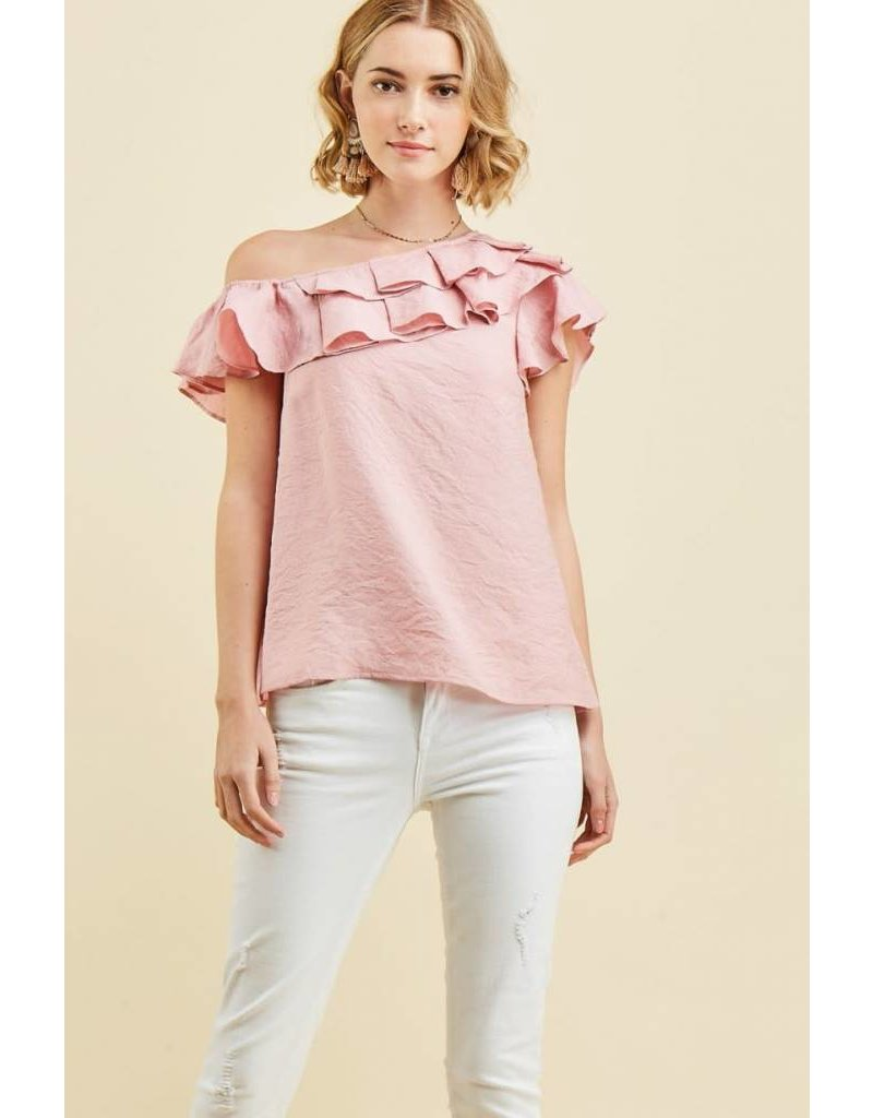 One Shoulder Top in Dusty Rose