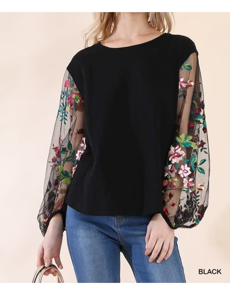 Black Embroidered Sheer Sleeve Top