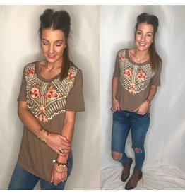 Mocha Embroidered S/S Top