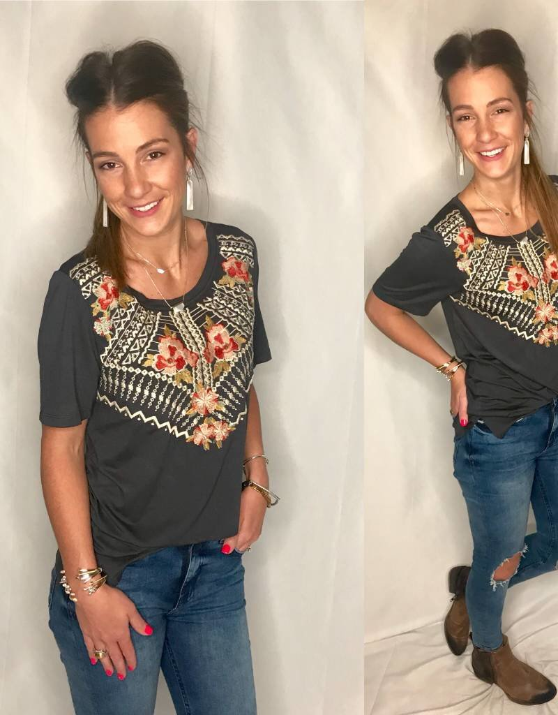 Charcoal Embroidered S/S Top