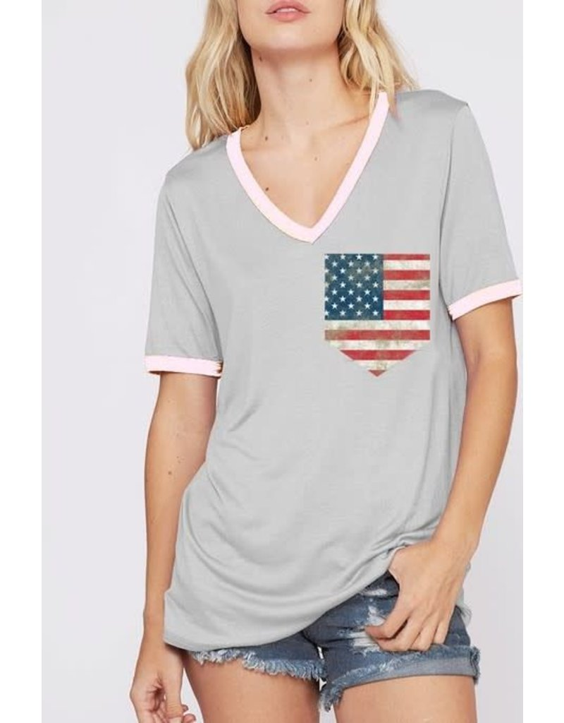 Gray Ringer Tee with Flag