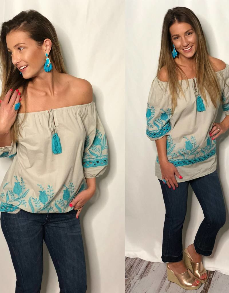 Dove Grey with Turquoise Embroidery Tunic