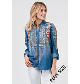 Denim Embroidered Top+