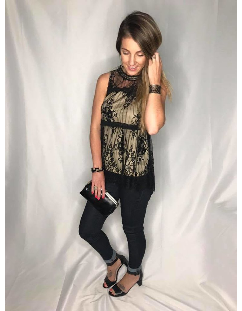 Black & Taupe Sleeveless Top