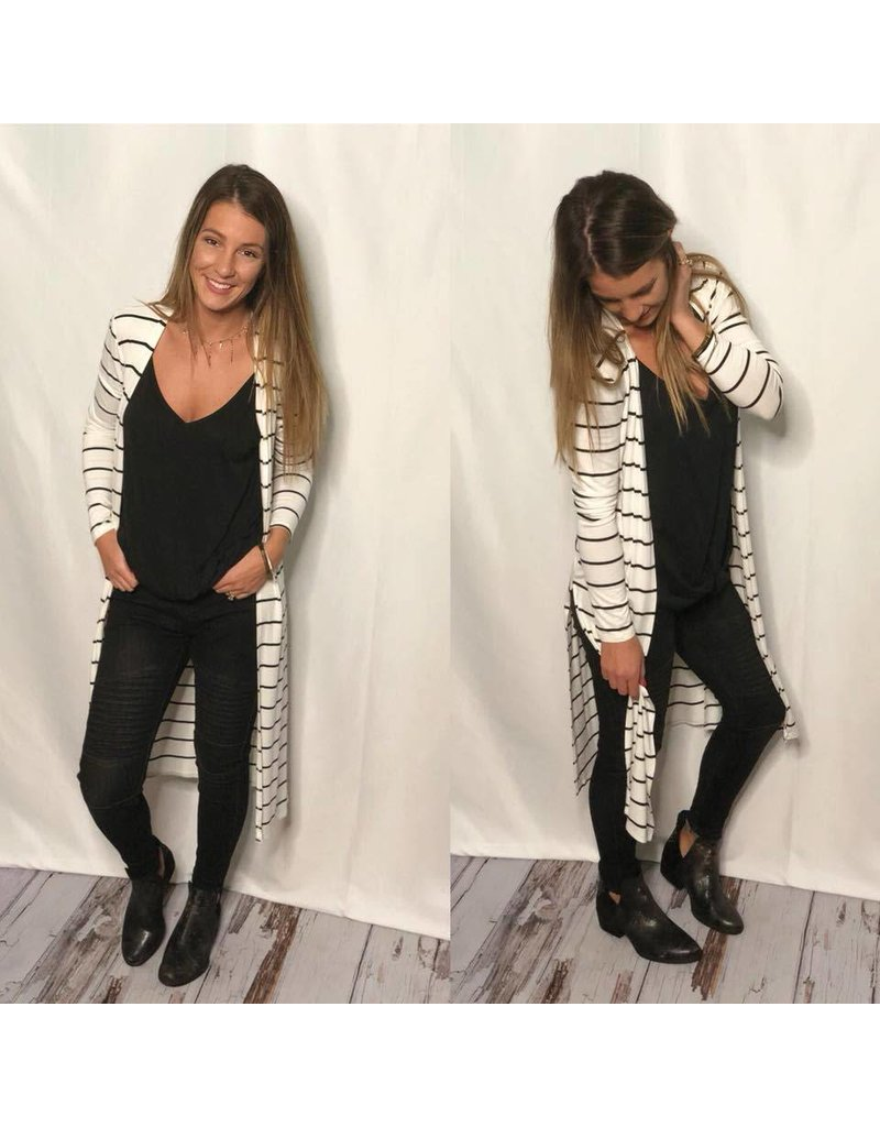 Striped Long Cardigan Black and Ivory