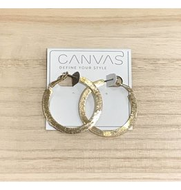 Textured Lever Back Gold Hoop Earrings
