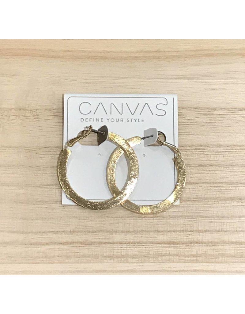 Textured Lever Back Gold Hoop Earrings