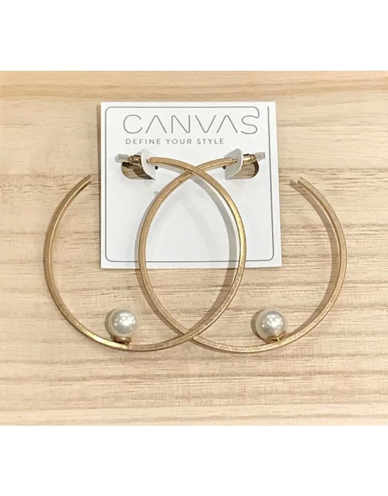 Canvas Floating Pearl Hoop Earrings