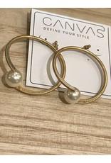 Hoop Earrings w/Ivory Pearl