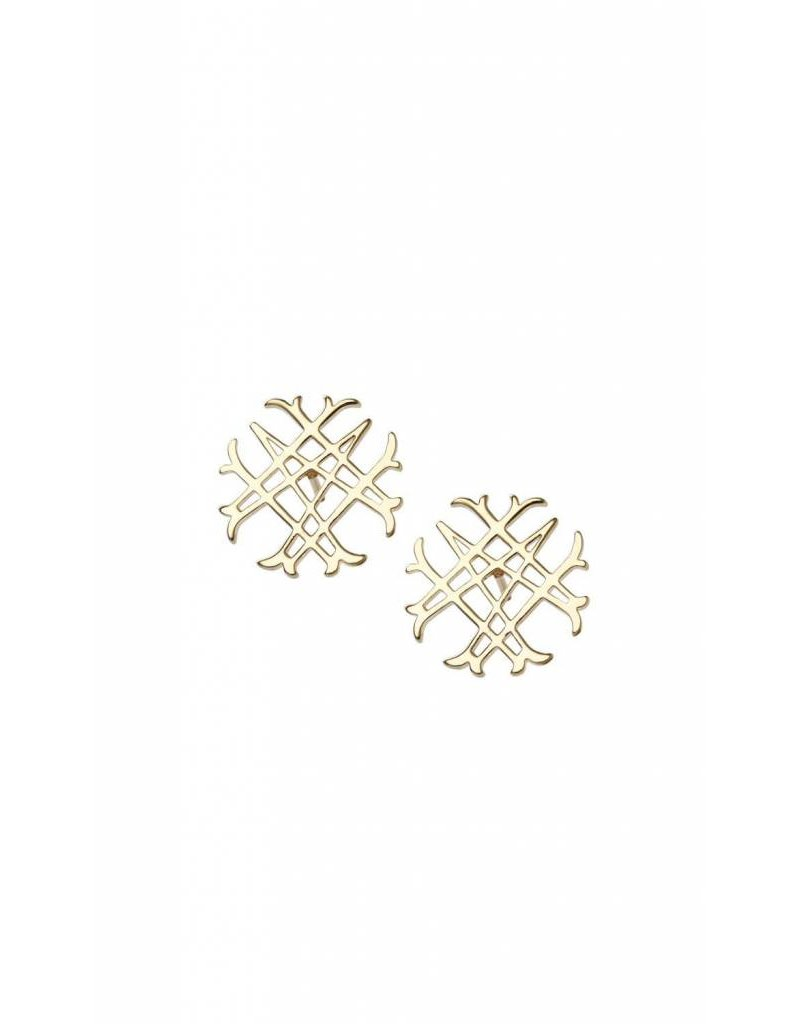 Natalie Wood Natalie Wood Gold Logo Stud Earrings