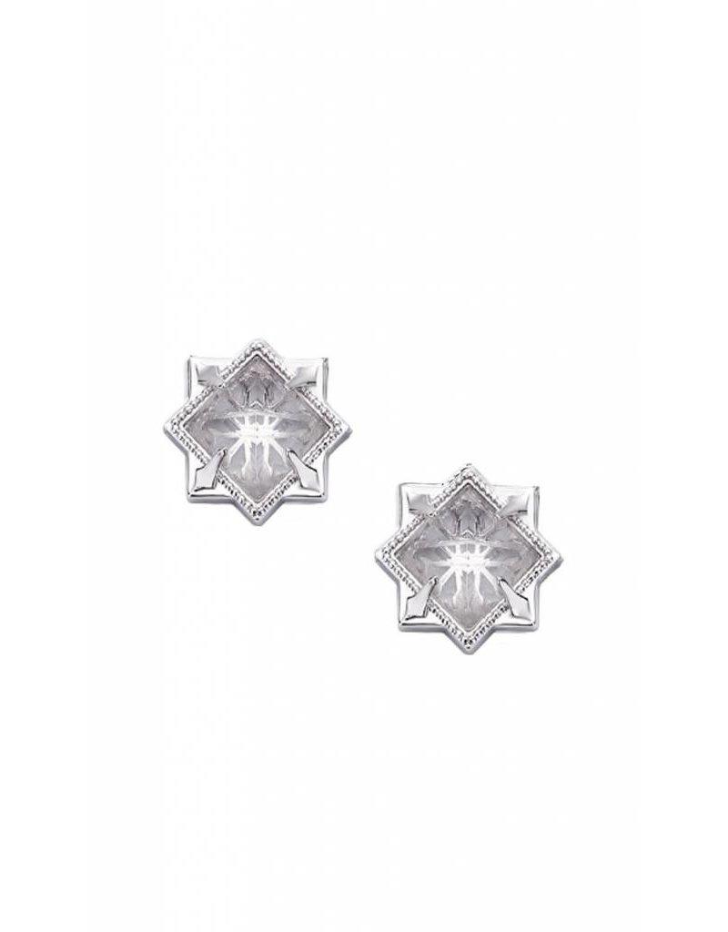Natalie Wood Natalie Wood Silver Clear Quartz Runaway Stud Earrings