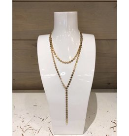 Canvas 2 Row Linked Disc Y Necklace Gold