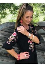 Black 3/4 Ruffle Sleeve Embroidered Dress