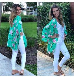 Aqua and Pink Floral Kimono