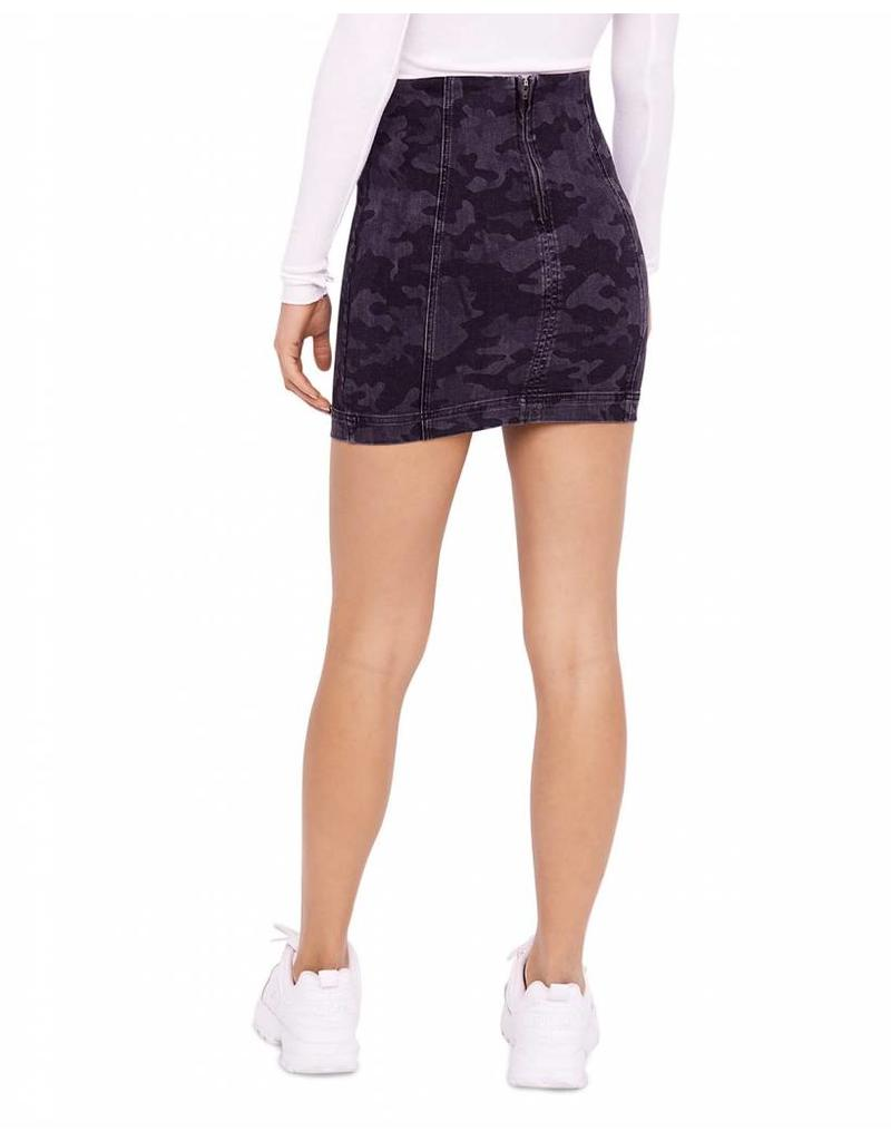 Free People Black Camo Mini Skirt